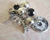 Midnight In Paris Interchangeable Beaded Cluster Charm or Keychain in black silver white
