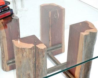 Tree Stump Coffee Table Base Reclaimed Wood Recycled Metal