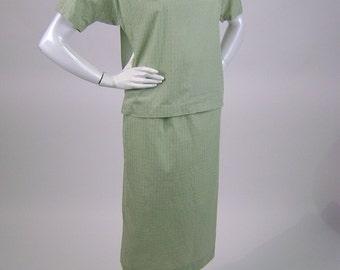 """Vintage 60s Blouse, Skirt Set, Short Sleeve, Peter Pan Collar, Straight Skirt,  Light Green, Fleur de Lys, Cotton, Bust 38"""", Dudley Casuals"""