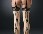Black Lingerie- Thigh Highs Panty Hose- Open back Bow detail