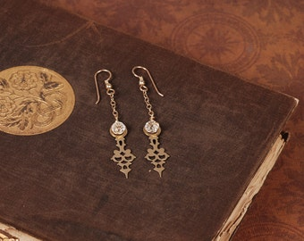 Steampunk Earrings - Clock Hand Earrings - Brass Earrings - Dangle Earrings - Steam Punk Earrings