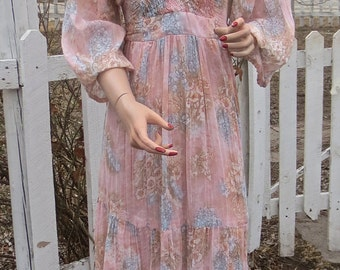 Vintage '70's Butterfly Light & Lovely  PHASE II Semi-Shear Pink Hippie Maxi Dress  - sz Med