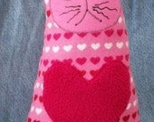 Plush Cat. Flannel Fleece with Pink Red Hearts -  Stella