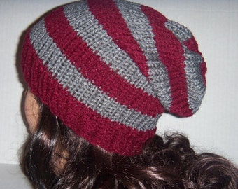 Men's Knit Hat, Slouchy Beanie in Burgundy and Gray, Striped Slouchy Hat