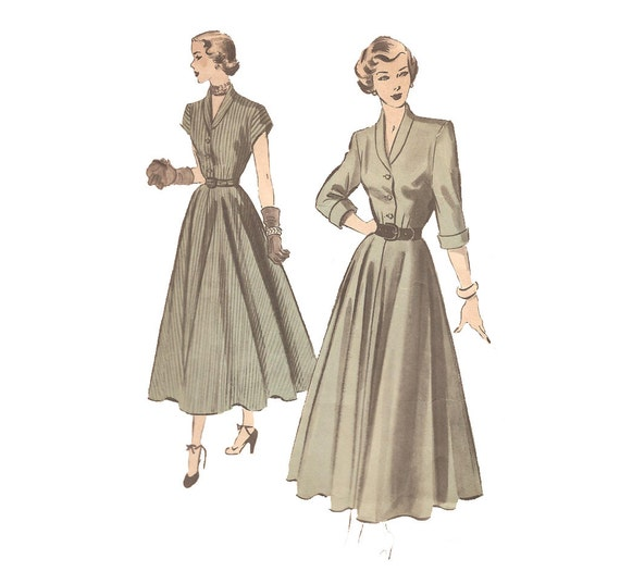 Late 1940s Womens Shirtdress - Advance 5057 Vintage Sewing Pattern - Bust 32 Size 14 - Shirtwaist