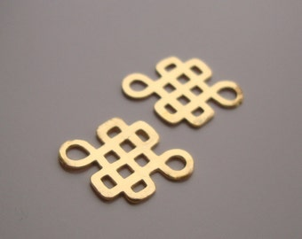 Gold Celtic Knot, 4 pcs Cute 18K Gold Sterling Silver Celtic Knot Connector, earring findings - happy, lucky Charm - PC-0007