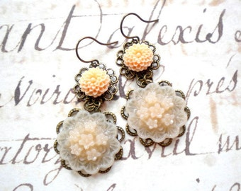 Flower Chandelier Earrings Peach Earrings Flower Dangle Earrings Cottage Chic Jewelry Flower Earrings Peach Flower Earrings Pastel Earrings