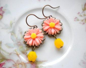 Sunflower Jewelry Peach Flower Earrings Yellow Earrings Sunflower Earrings Yellow Dangle Earrings Daisy Earrings Yellow Drop Earrings