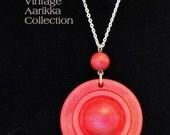 Vintage Red Wood Circle Pendant Necklace, by Finnish Designer Kaija Aarikka, 23 in. long, FREE GIFT BAG