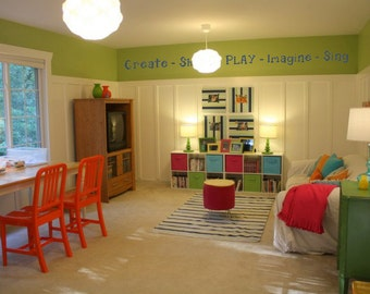 Create Share PLAY Imagine Sing Playroom BIG Vinyl Wall Decal Decor Wall Lettering Words Quotes Decals Art Custom