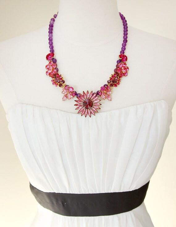 Fuchsia Flowers Statement Necklace. Vintage Rhinestone Jewelry, Repurposed.RESERVED