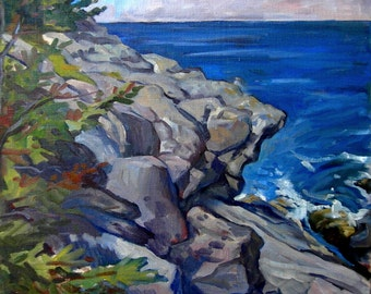 From Boar's Head, Monhegan, Maine. Oil Painting Landscape, 20X20 Oil on Canvas, Plein Air Impressionist Seascape, Signed Original Fine Art