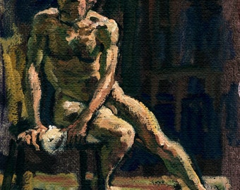 Twist, Male Nude. Realist Painting, Oil on Canvas, 8x11 Original Figure Study from Life, Signed Original Fine Art