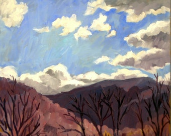 Sunny Autumn Clouds, Berkshires. Realist Oil Painting, 18x24 Plein Air Impressionist Landscape, Oil on Canvas, Signed Original Fine Art