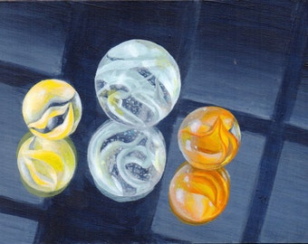 Small Acrylic Painting, Still Life Painting of Marbles, Original Art for Home Decor, Office Decor