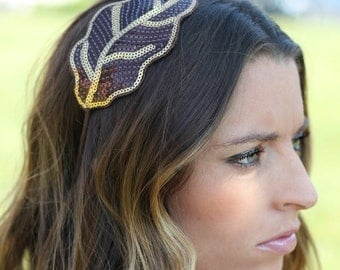 Brown Hair Band - Sequin Leaf Appliqué  for Adults and Women