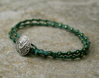 Men's Wrap Bracelet Dragon Button and Green Seed Beads