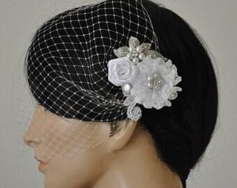 Birdcage Veil (Bandeau style) set with hair  Fascinator (2 Items) , Hair Accessory,wedding veil, Bridal hair piece ,wedding hair piece,