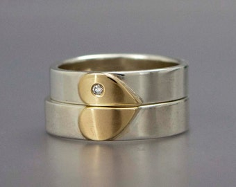 Diamond Heart Wedding Band Set in 14k Gold and Sterling Silver - We Hold One Heart