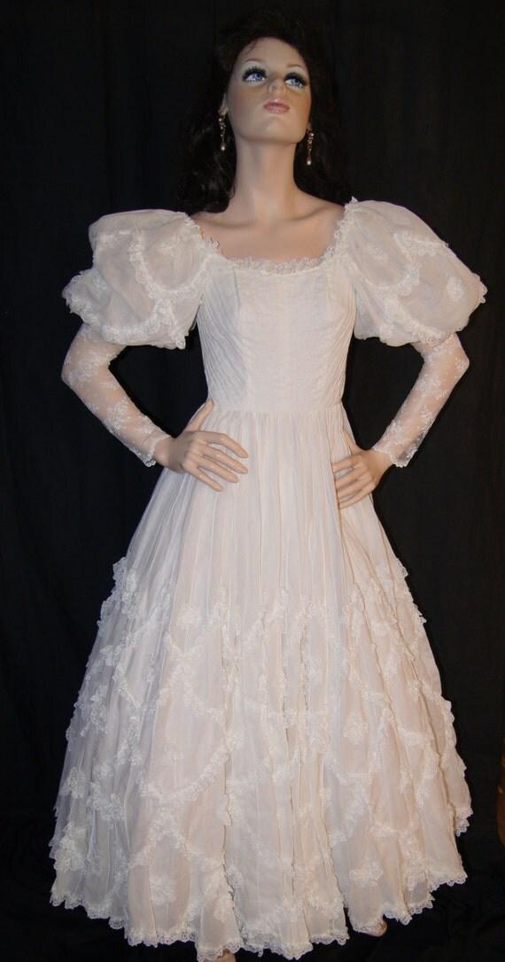 Vintage 60s 70s victorian wedding dress ethnic mexican for Vintage victorian wedding dresses