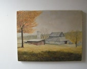 Vintage Barn Painting Landscape Tennessee Country Trees Grass Gray Yellow Green 14x18