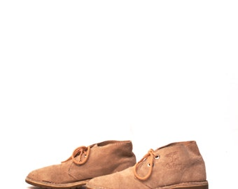 womens size 9 SUEDE tan 90s SAFARI 2 eyelets shoes CLARKS