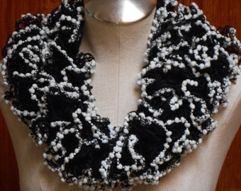 women knitted ruffle scarf in black and white - ruffle black and white scarf knitted - scarf ruffle knitted black and white