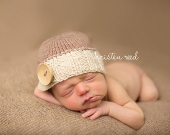 Newborn photo prop, newborn hat, newborn boy, newborn girl, knit newborn hat, newborn props, 50 colors to choose Newborn button beanie.