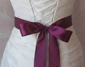 Double Face Wine Satin Ribbon, 1.5 Inch Wide, Ribbon Sash Sangria, Plum Purple, Bridal Sash, Wedding Belt, 4 Yards