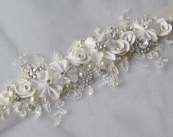 Ivory Lace Bridal Sash, Ivory Wedding Belt, Rhinestone and Pearl Flower Sash in Cream - CHANNING