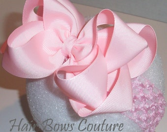 Pick your color- Hair Bow Headband Large Boutique Hairbow headband Double Layered Hairbow Headband  Newborn Infants,Toddler, Easter Bows
