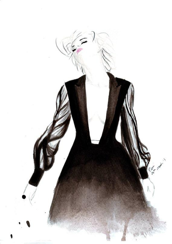 Watercolour Fashion illustration Titled Ashleigh