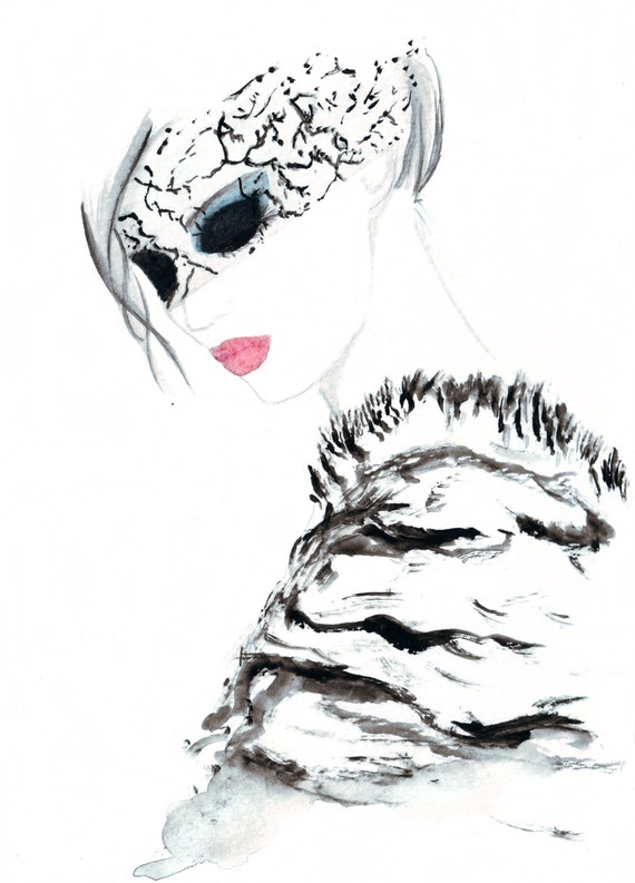 Watercolour fashion illustration Titled An Evening with Chanel