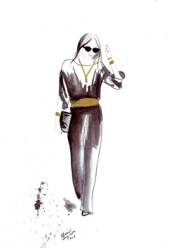 Watercolour Fashion illustration Titled City Pantsuit