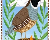 Quail and Poppies Card