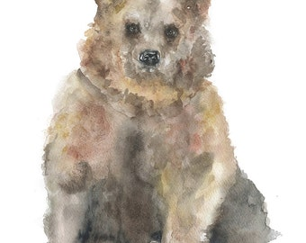 Brown Bear Watercolor Painting Giclee Print Fine Art Print 11 x 14