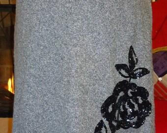 Jupe en Tweed noir w / applique sequin