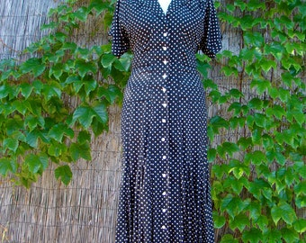 Vintage 80s / Black and White / Polka Dot / Short Sleeve / Day Dress / SMALL