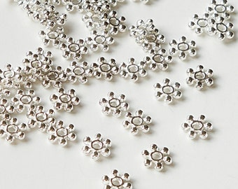 Silver Daisy Spacers, Silver Plated Small Flower Spacer Bead 6 Petals, 100 Pcs 6mm-7mm, Bead Caps Metal Jewelry Findings, Diy Craft Supplies