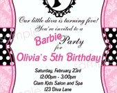 Barbie Inspired Birthday Party Invitation -  DIY Digital, Printable Party INVITATION - 4x6 or 5x7 - Barbie Princess - Barbie Silhouette