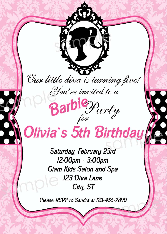 Barbie Inspired Birthday Party Invitation DIY by modpoddesigns