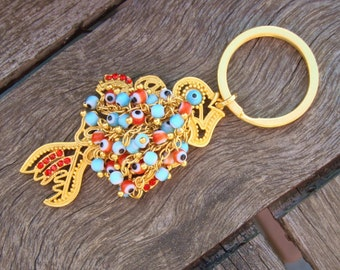 40% DISCOUNT - Gold Filigree Fish Charm Keychain