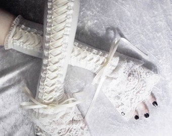 Ivory Towers Victorian Corset Laced Up Arm Warmers | Pale Ivory Cream | Double Layered Lace | Steampunk Pirate Dark Rococo Gothic Goth