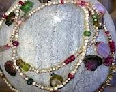 RESERVED FOR LEE  2 wrap Bracelets Sterling silver and sliced tourmaline Wrap Charm Healing Chakra bracelet