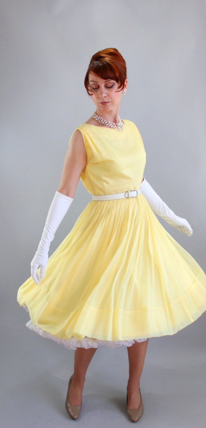 1950s Bright Pastel Yellow Party Dress Formal Dress Mad Men