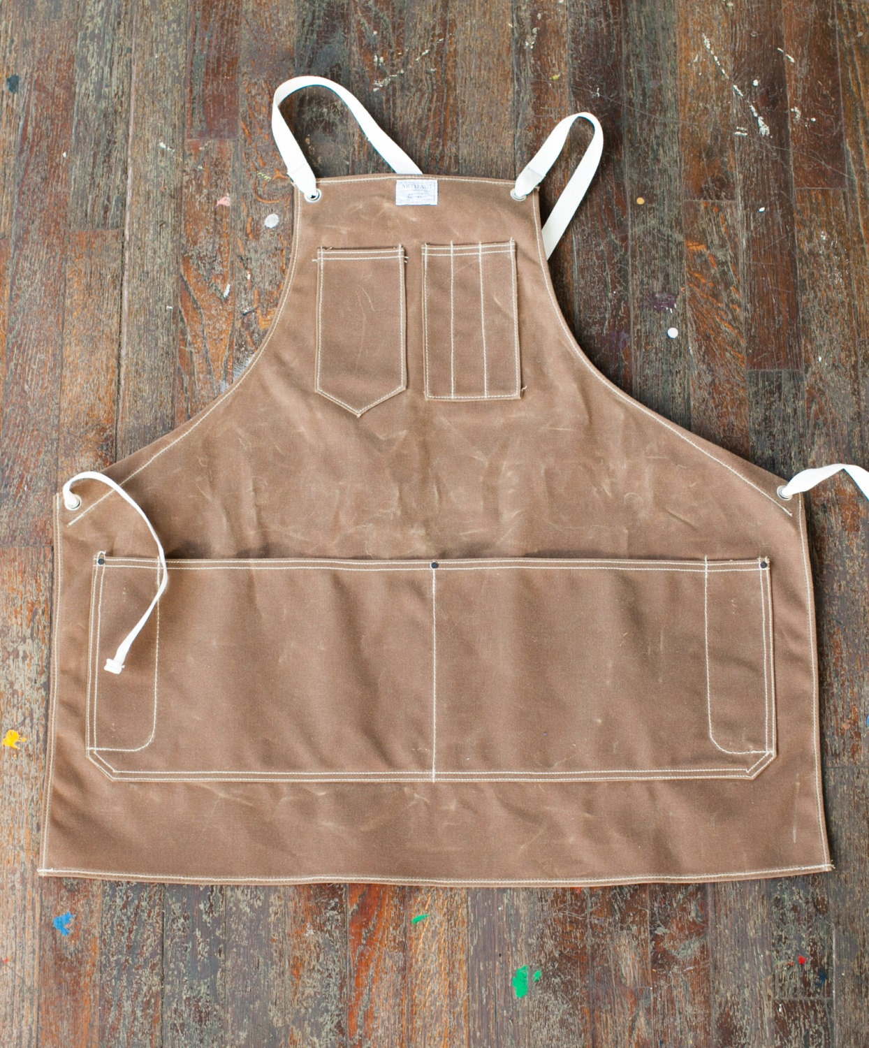 No.325-T Artisan Apron in Rust Wax & Khaki Cotton Tapes