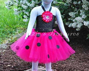 4-Piece Hot Pink Ladybug Tutu Dress - Size 2T to Girls Size 6 - Can Be Worn Different Ways