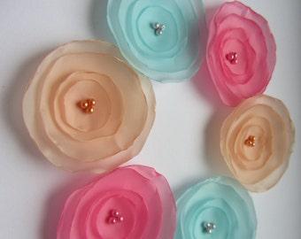 Fabric flowers, Silk flowers, Wholesale flowers, Burnt flowers, Singed flowers, Pastel color flowers