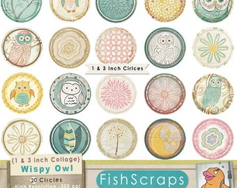 Owls 1 inch Collage Sheet + 3 inch Circle, Printable Circles, Printable Image Download, Cupcake Toppers, Cachobons, Bottle Cap