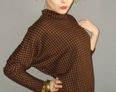 vintage brown/black houndstooth tunic batwing dress / s sm